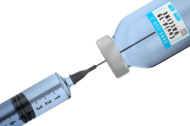 Siringa e vaccino da covid-19 su sfondo bianco. illustrazione 3d isolata