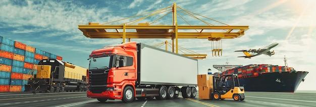 Logistica del sistema della nave da carico del container del camion e dell'aereo da carico 3d rendering e illustrazione