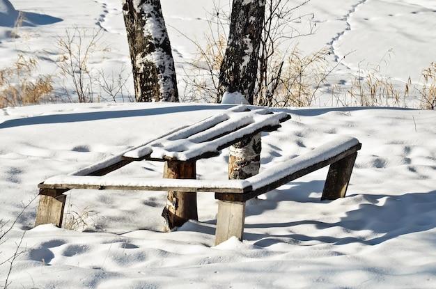 Tavolo e panca, coperti di neve bianca su uno sfondo di prati innevati, alberi, erba secca, sentieri