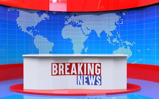 Tavolo e banner di ultime notizie in studio notizie
