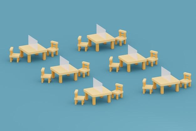 Tavolo e sedie con una partizione nella sala studio dell'illustrazione 3d della scuola