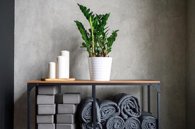 Rastrelliera da tavolo con accessori per lezioni di yoga e candele decorative e pianta zamioculcas zamiifolia