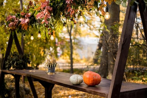 Tavolo servito per la festa di halloween in giardino. foto di alta qualità