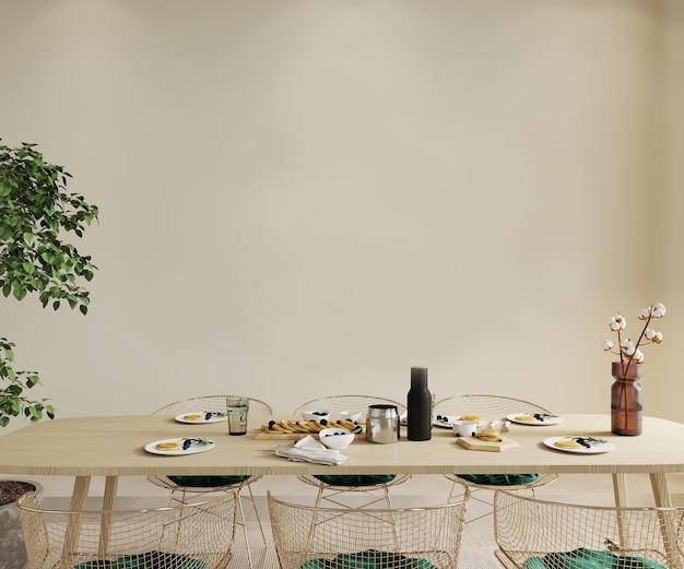 Impostazione della tavola per una cena, rendering 3d, mockup di parete, mockup di cornice