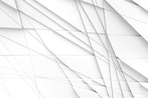 Il tavolo della superficie è calcolato da linee rette su diverse forme geometriche a diverse altezze e proiettano ombre l'una sull'altra. illustrazione 3d