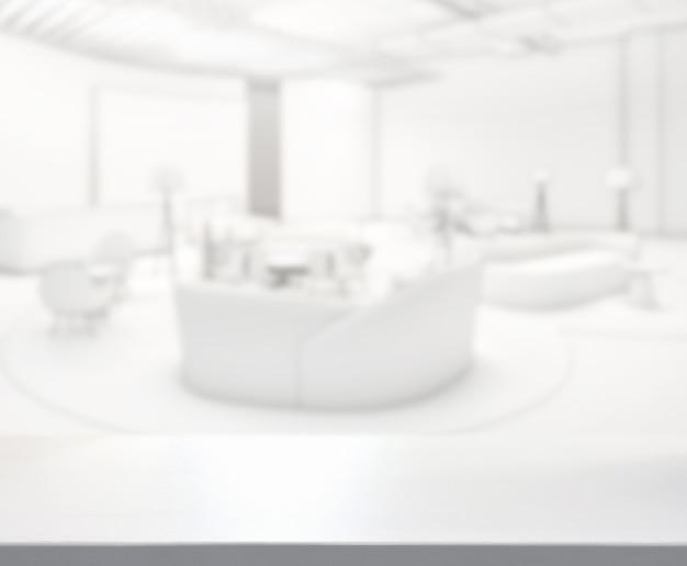 Piano del tavolo e sfocatura soggiorno di sfondo