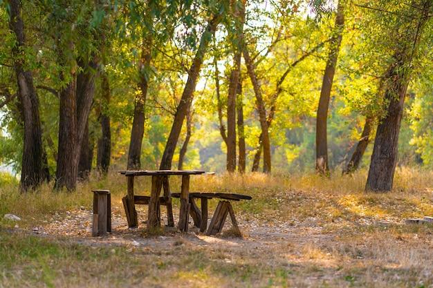 Un tavolo e due panche da una casa di tronchi grezzi. area ricreativa nella foresta