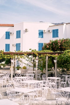 Tavoli e sedie vicino al patio intrecciati con l'uva sullo sfondo di una casa a tre piani