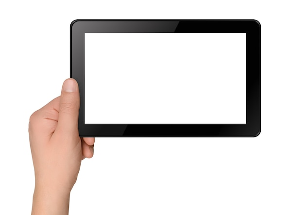 Computer tablet con le mani isolato su sfondo bianco
