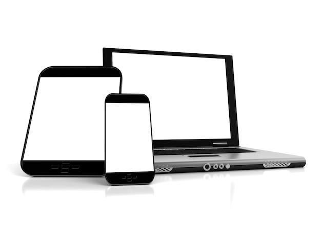 Un tablet, un telefono cellulare e un laptop con schermi vuoti ideali per la personalizzazione