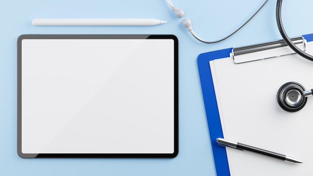 Modello della compressa per la visualizzazione con la lavagna per appunti medica dello stetoscopio sulla rappresentazione blu del fondo 3d