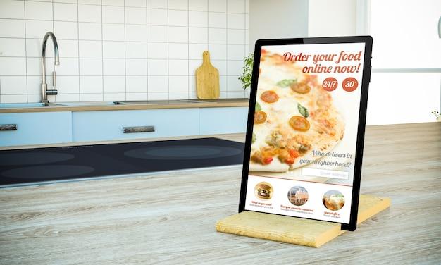 Mockup di tablet pc con sito web online di cibo di ordine sullo schermo sull'isola di cottura in cucina rendering 3d