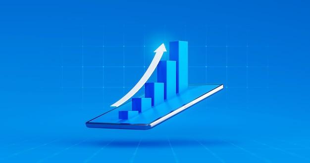 Schermo della compressa del grafico azionario della freccia del grafico di affari del mercato o profitto dei dati finanziari di investimento sullo sfondo del display digitale con informazioni di scambio del diagramma rappresentazione 3d.