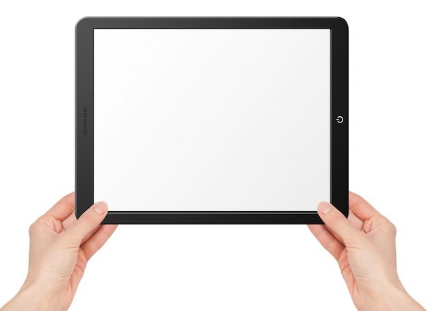Tablet con schermo vuoto nelle mani