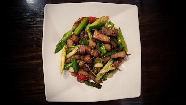 Taiwan hakka cucina tradizionale di maiale fritto in padella mangiare un popolare piatto taiwanese