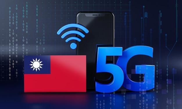 Taiwan pronta per il concetto di connessione 5g. sfondo di tecnologia smartphone rendering 3d