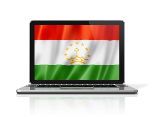 Bandiera del tagikistan sullo schermo del laptop isolato su bianco. rendering di illustrazione 3d.