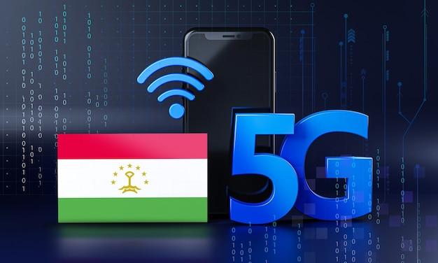 Tagikistan pronto per il concetto di connessione 5g. sfondo di tecnologia smartphone rendering 3d