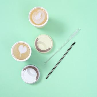 Porta via caffè, cappuccino e latte art in tazza termica eco riutilizzabile