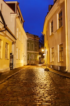 Via tallinn nella notte, estonia
