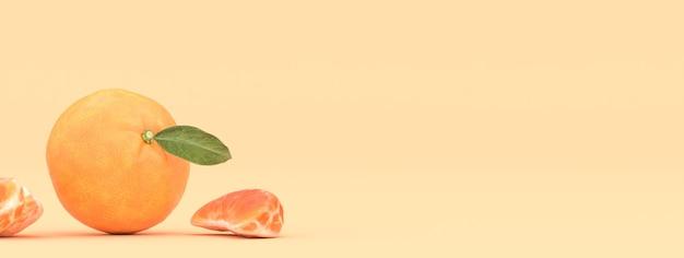 Mandarino su uno sfondo giallo, illustrazione 3d