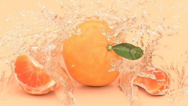 Mandarino su uno sfondo giallo in spruzzi d'acqua, illustrazione 3d
