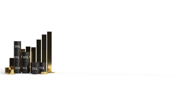 Olio del serbatoio e rappresentazione 3d del grafico per il contenuto di benzina.