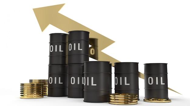 Rappresentazione 3d delle monete di oro e dell'olio di carro armato per il contenuto di benzina.