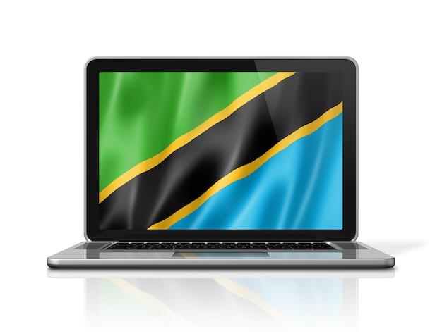 Bandiera della tanzania sullo schermo del computer portatile isolato su bianco. rendering di illustrazione 3d.