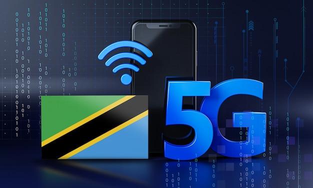 Tanzania pronta per il concetto di connessione 5g. sfondo di tecnologia smartphone rendering 3d