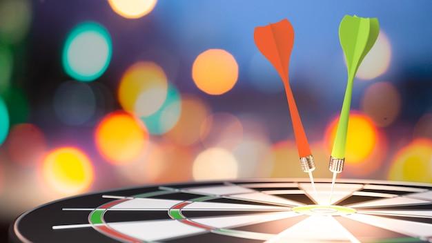 Target dardo con freccia su sfondo sfocato bokeh, metafora per il marketing di destinazione o il concetto di freccia di destinazione. rendering 3d.