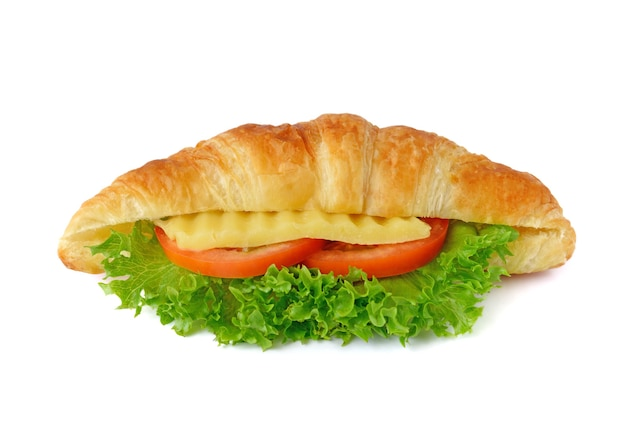Gustoso panino croissant su bianco