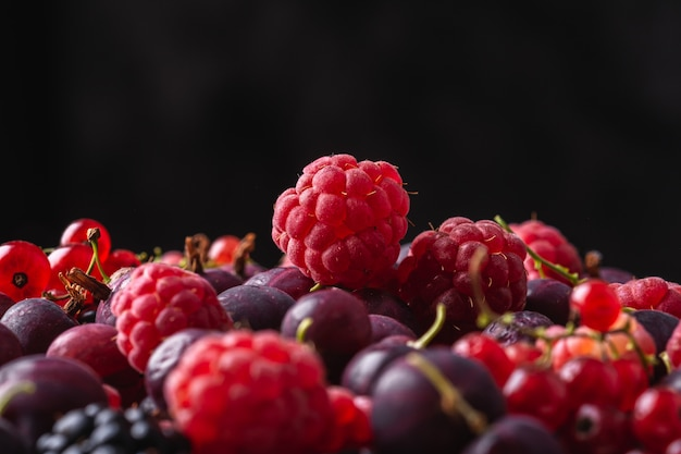 Gustoso lampone maturo fresco, mora, uva spina e ribes rosso, trama di cibo sano sul nero