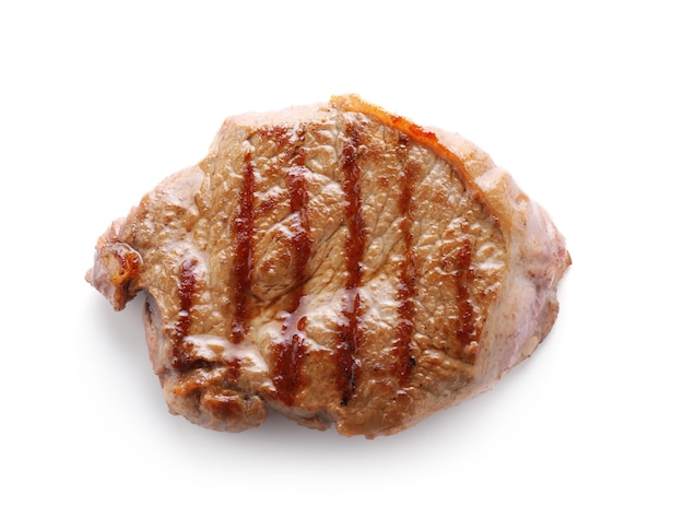 Gustosa bistecca alla griglia su sfondo bianco