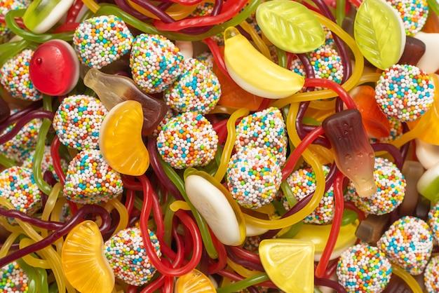 Gustose caramelle gommose. vista dall'alto.