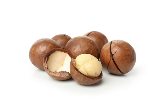 Noci di macadamia saporite isolate su bianco