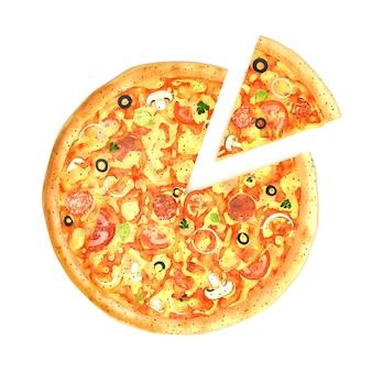 Pizza gustosa con un pezzo tagliato isolato su bianco