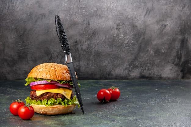 Gustosi pomodori sandwich con gambo su superficie di colore misto scuro con spazio libero