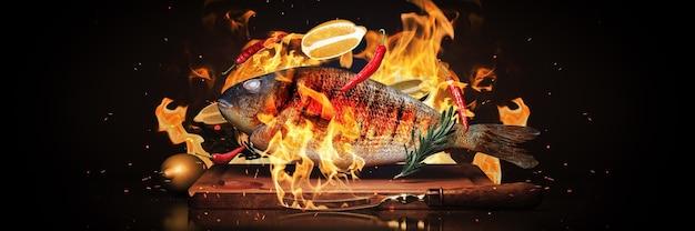 Gustosi pesci di mare che volano nell'aria congelare il concetto di barbecue in movimento 3d rendering