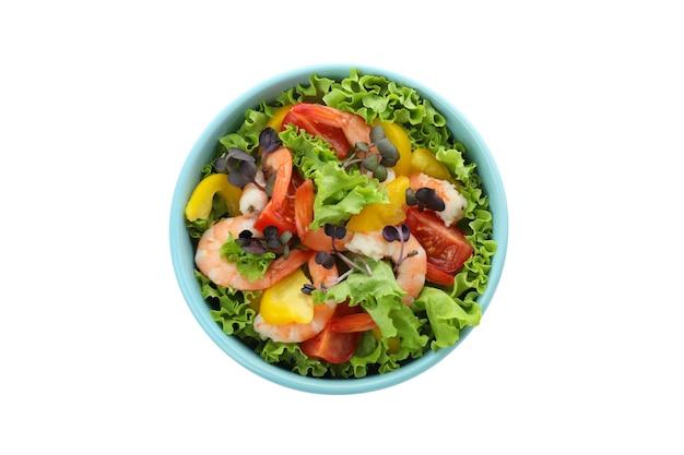 Gustosa insalata di gamberi isolato su sfondo bianco white