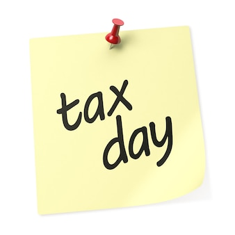 Nota adesiva gialla di tax day con puntina rossa. rappresentazione 3d.