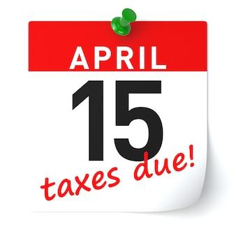 Carta del calendario dei tempi fiscali. rendering 3d isolato