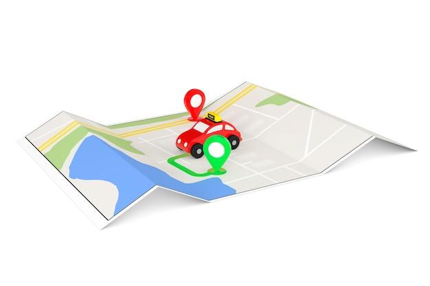 Concetto di ordine di taxi. taxi giocattolo dall'alto della mappa di navigazione astratta con il primo piano estremo dei perni di destinazione.