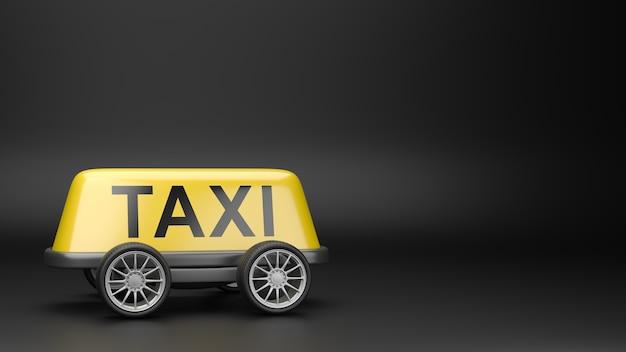 Taxi segno sul tetto su ruote isolate
