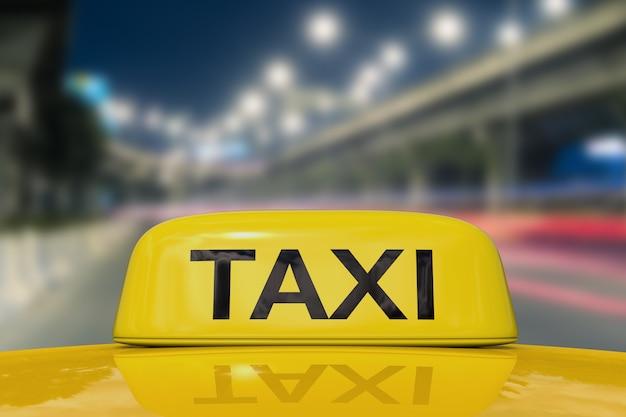 Segno di taxi sullo sfondo del sentiero di luce