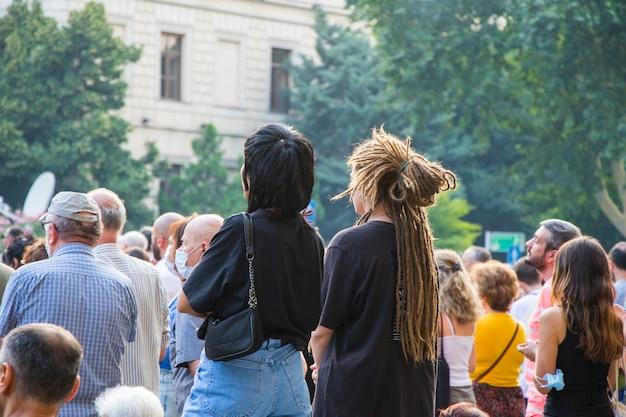 Tbilisi, georgia - 11 luglio 2021: la manifestazione è stata organizzata a causa della morte di un giornalista picchiato durante l'evento del tbilisi pride.