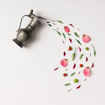 Tazza da tè con varie erbe naturali.