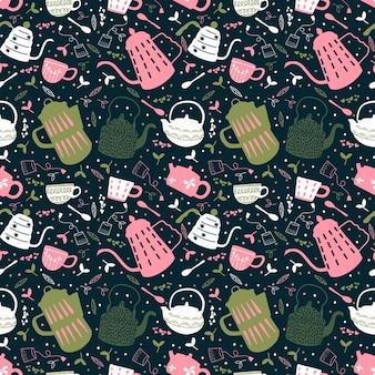 Reticolo senza giunte di tempo del tè. design di carta da imballaggio per tea party. illustrazione di doodle disegnato a mano con teiere