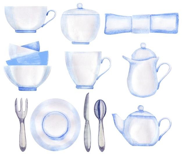 L'ora del tè è impostata in stile retrò. piatti bianchi disegnati a mano