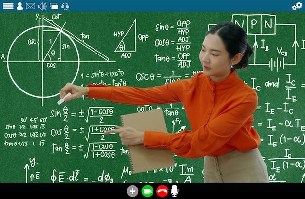 L'insegnante insegna lezione sull'app di e-learning e formazione online per studenti a distanza